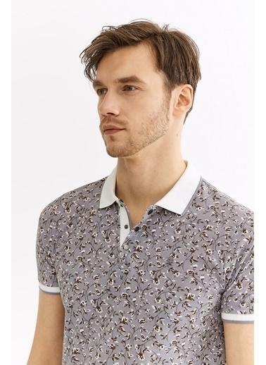 Avva Erkek  Polo Yaka Çiçek Baskılı Tişört A01Y1049 Gri